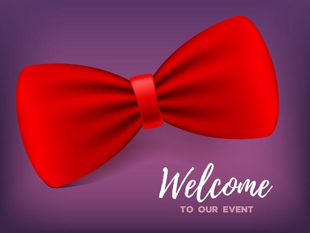Realistyczna ilustracja z elegancką czerwoną muszką z cieniem i tekstem. tradycyjny garnitur lub element kostiumu. projekt 3d klasycznej muszki na wydarzenie, zaproszenie na przyjęcie, kartę
