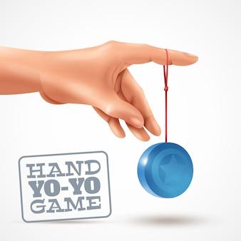 Realistyczna ilustracja z ludzką ręką bawić się błękitnego yoyo