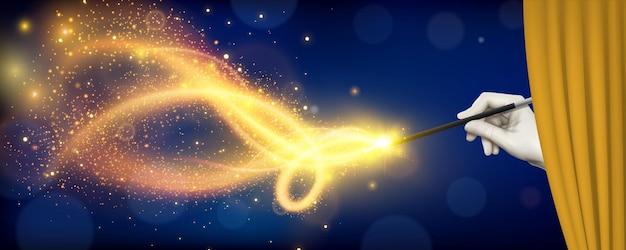 Realistyczna ilustracja z magiem chowającym się za zasłoną i trzymającym w ręku magiczną różdżkę