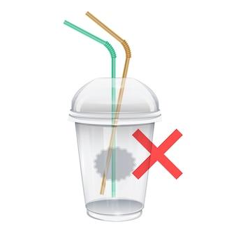 Realistyczna ilustracja zakazu plastikowych kubków i słomek symbol zatrzymania plastikowego kubka i jednorazowych słomek zatrzymuje zanieczyszczenie plastikowymi śmieciami