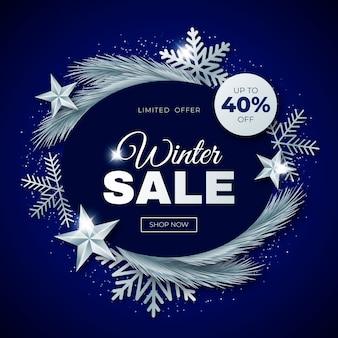 Realistyczna ilustracja zimowej sprzedaży