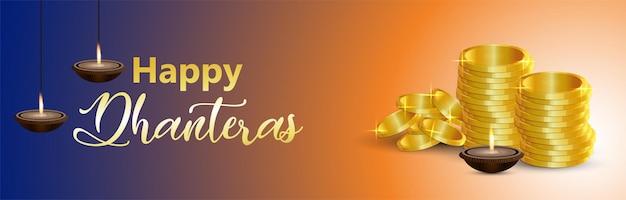 Realistyczna ilustracja złotej monety dla szczęśliwych dhanteras