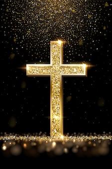 Realistyczna ilustracja złoty krzyż modlitewny. luksusowa biżuteria, elegancki dodatek pod złocistym brokatowym deszczem, biżuteria z metali szlachetnych. wiara chrześcijańska, symbol religii katolickiej