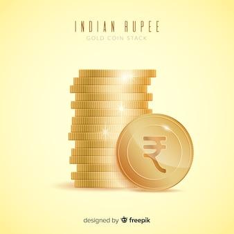 Realistyczna indyjska rupia złota moneta stosu