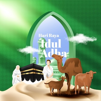 Realistyczna islamska ilustracja karty eid al adha mubarak ze zwierzęciem na ofiarę
