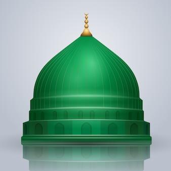 Realistyczna islamska wektorowa zielona kopuła proroka meczet