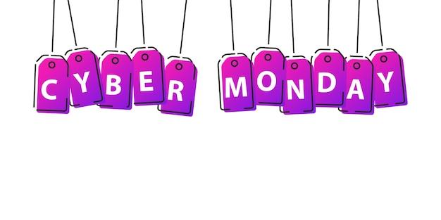 Realistyczna izolowana cena sprzedaży w cyber poniedziałek z cienką linią gradientową