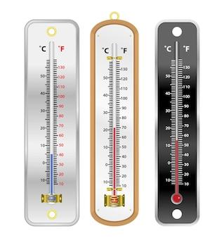 Realistyczna izolowana ilustracja termometru rtęciowego lub temperatura pokojowa