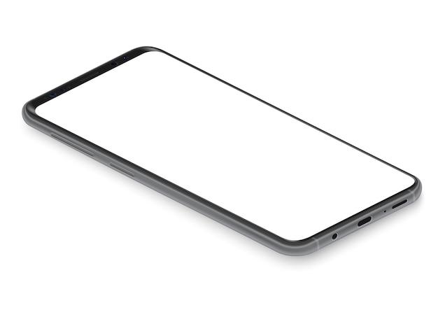 Realistyczna izometryczna czarna bezramkowa ilustracja widoku perspektywicznego smartfona