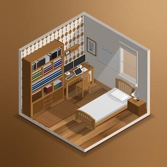 Realistyczna izometryczna sypialnia 3d