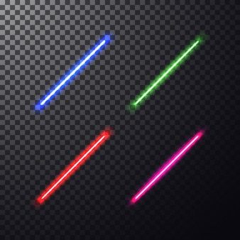 Realistyczna, jasna, kolorowa wiązka lasera.