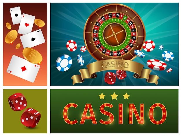 Realistyczna, jasna kompozycja kasyna z żetonami do gry w ruletkę, kartami ze złotymi monetami i kostkami
