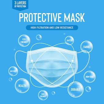 Realistyczna jednorazowa maska ochronna. niebieska maska do oddychania z cząsteczkami