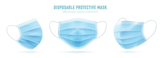 Realistyczna jednorazowa maska ochronna. niebieska maska medyczna na twarz. koronawirus ochrona