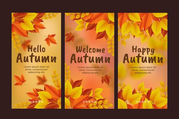 Realistyczna jesienna kolekcja opowiadań na instagramie