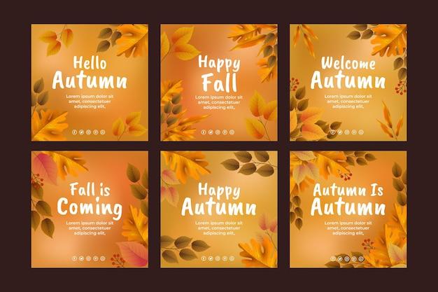 Realistyczna jesienna kolekcja postów na instagramie