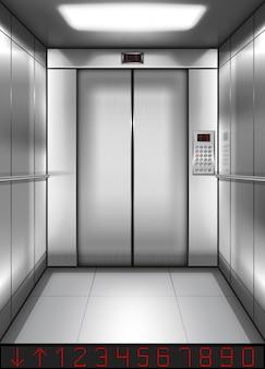 Realistyczna kabina windy z zamkniętymi drzwiami w środku