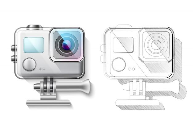 Realistyczna kamera akcji w renderowaniu pudełkowym i planie