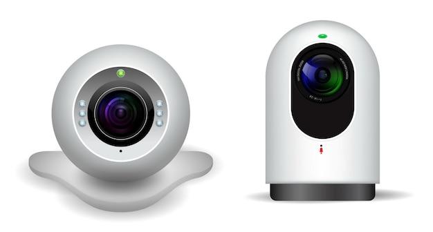 Realistyczna kamera internetowa na komputerze osobistym na białym tle