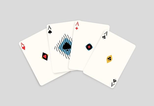 Realistyczna karta do gry z czterema asami na białym tle