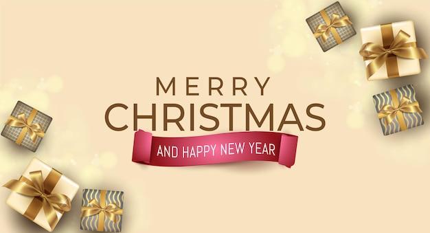 Realistyczna kartka świąteczna i noworoczna z szablonem projektu prezentów
