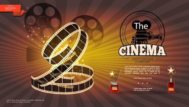 Realistyczna kinematografia jasna z taśmą filmową z taśmą filmową i ilustracją nagród kinowych