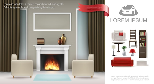 Realistyczna klasyczna koncepcja wnętrza z fotelami sofa poduszka ceramiczne wazony na ramie kominka na zdjęcie zasłony szafka lampy ilustracja stołowa