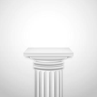 Realistyczna klasyczna pusta biała kolumna.