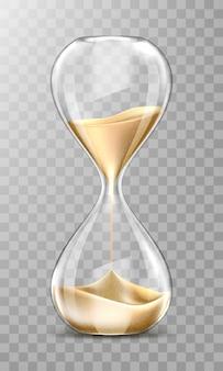 Realistyczna klepsydra, przezroczysty zegar piaskowy