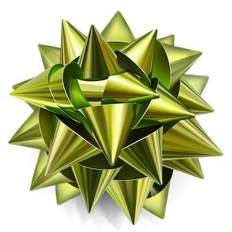 Realistyczna kokardka wykonana z błyszczącej zielono-złotej wstążki