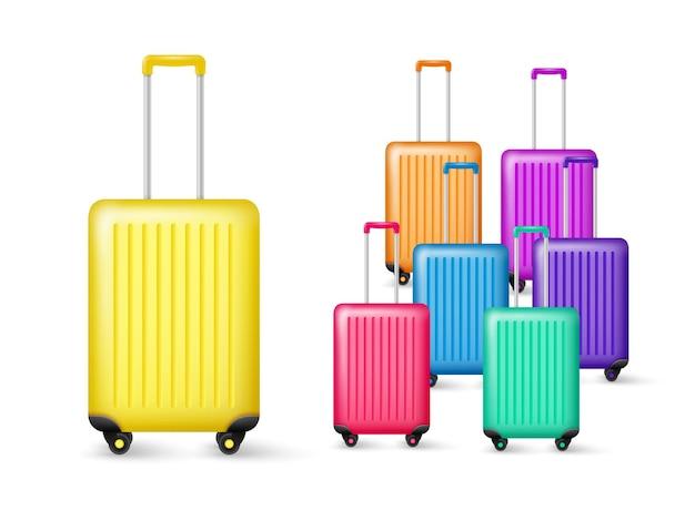 Realistyczna kolekcja bagażu podróżnego. plastikowa torba w różnych kolorach na białym tle ilustracja.