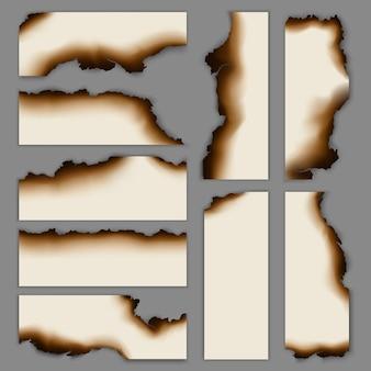 Realistyczna kolekcja banerów spalonego spalonego papieru