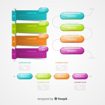 Realistyczna kolekcja błyszczących elementów z tworzywa sztucznego infographic