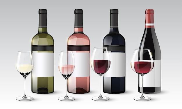 Realistyczna kolekcja butelek i kieliszków wina z białą czerwoną różą na białym tle