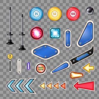 Realistyczna kolekcja części maszyn do gry w pinball