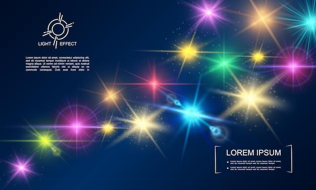 Realistyczna kolekcja efektów świetlnych ze świecącymi gwiazdami, plamkami, błyszczącymi efektami flary obiektywu