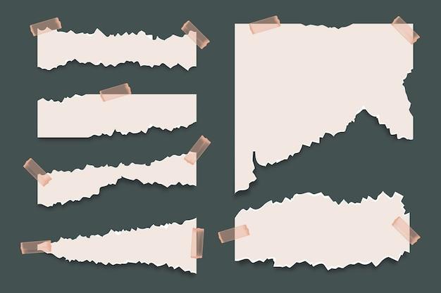 Realistyczna kolekcja efektu rip papieru