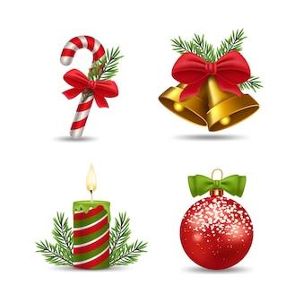 Realistyczna kolekcja elementów świątecznych