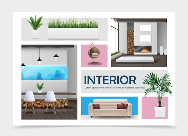 Realistyczna kolekcja elementów wnętrza domu z sofą poduszki stół wiklinowy nowoczesny fotel rośliny i trawa w doniczkach lampy akwarium kominek ilustracja