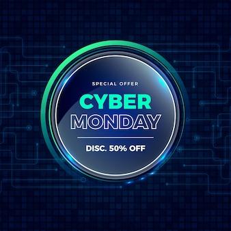 Realistyczna kolekcja etykiet cyber poniedziałek