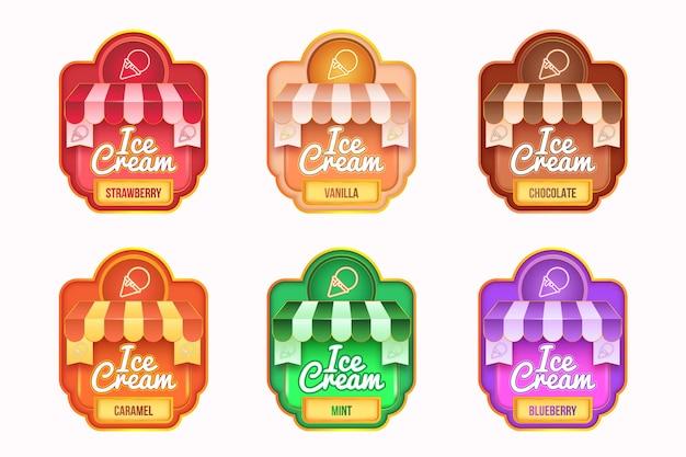 Realistyczna kolekcja etykiet lodów ice