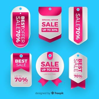 Realistyczna kolekcja etykiet w stylu sprzedaży
