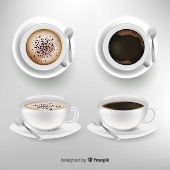 Realistyczna kolekcja filiżanek kawy