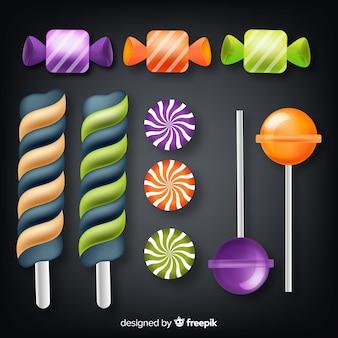 Realistyczna kolekcja halloweenowych cukierków