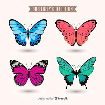 Realistyczna kolekcja kolorowych motyli