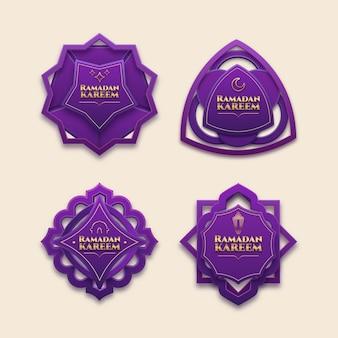 Realistyczna kolekcja odznak ramadan