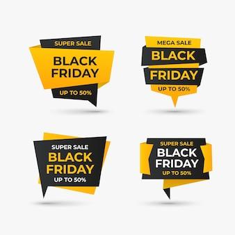 Realistyczna kolekcja odznak sprzedaży w czarny piątek