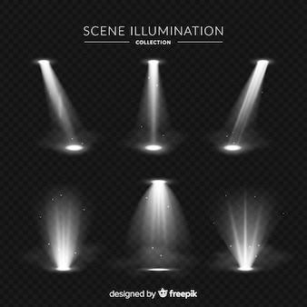 Realistyczna kolekcja oświetlenia sceny