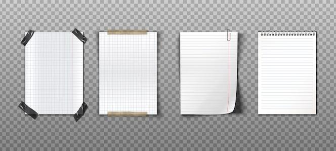 Realistyczna kolekcja papierowych notatek z taśmami, spinaczem i spiralnym notesem
