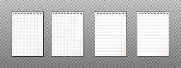 Realistyczna kolekcja papierowych notatek ze spiralami